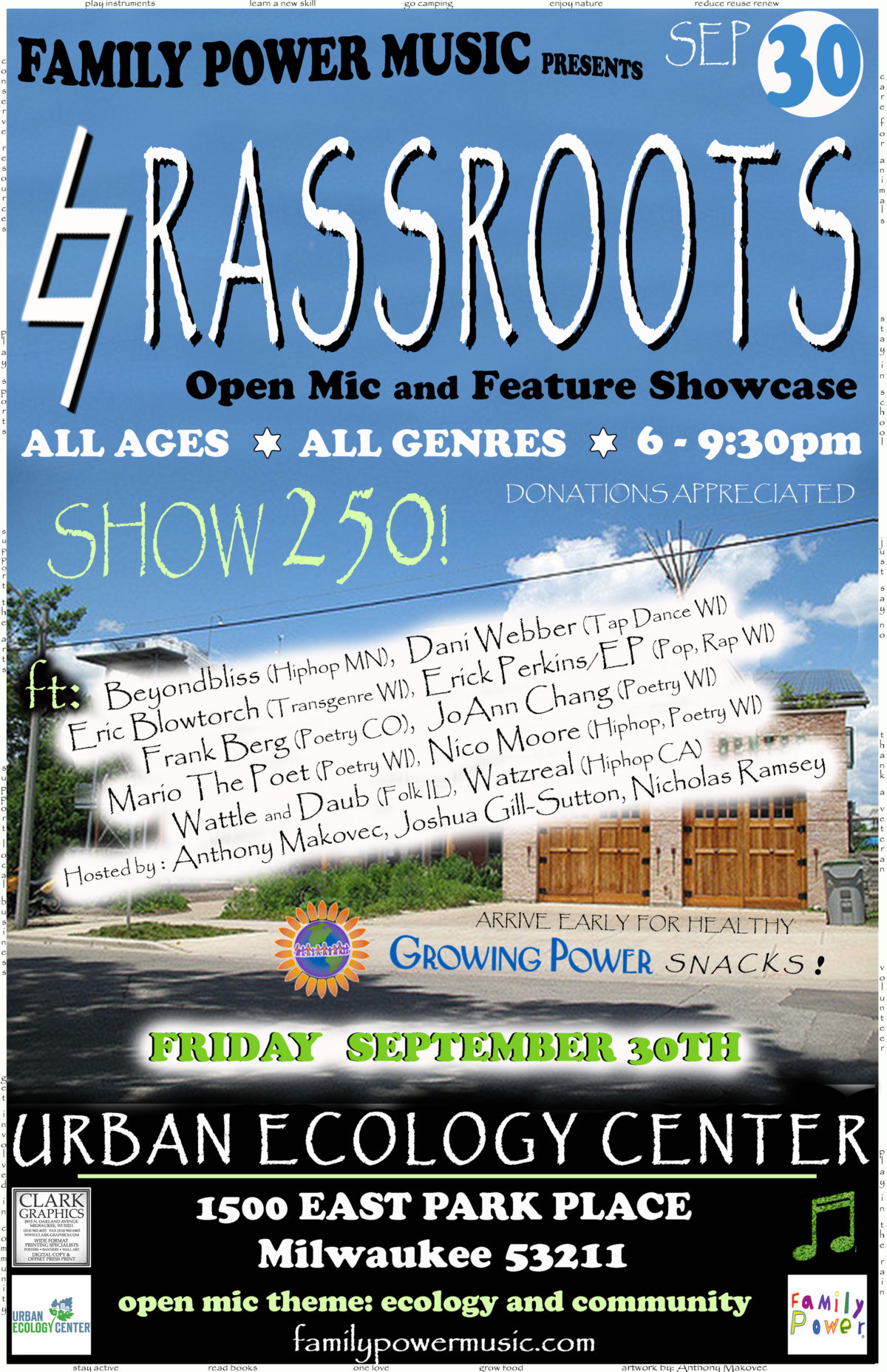 Friday 9/30/16 @ Urban Ecology Center Riverside Park – Grassroots 250th SHOW!
