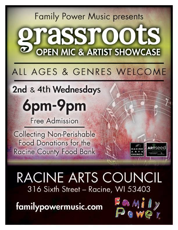 Wednesday 10/26/16 @ Racine Arts Council – Grassroots Open Mic and Feature Showcase